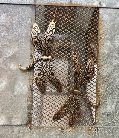 Gold Dragonfly Earring