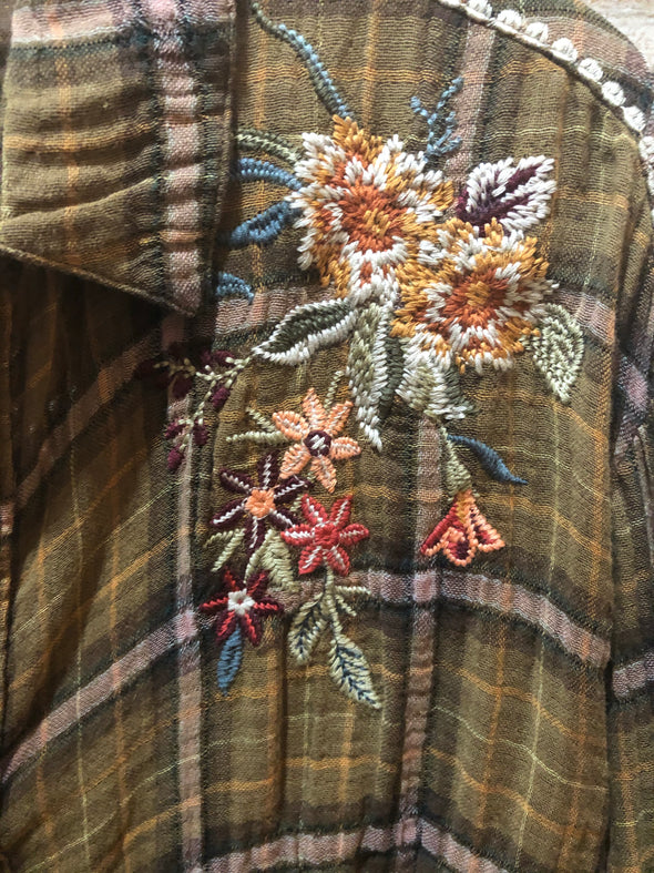 Johnny Was - Embers Embroidered Plaid Button Up