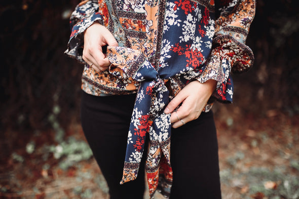 Autumn Smocked Neck Floral Tie Blouse