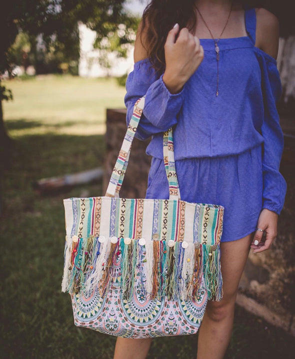 Cream and Green Pattern Fringe Tote with Coin Details