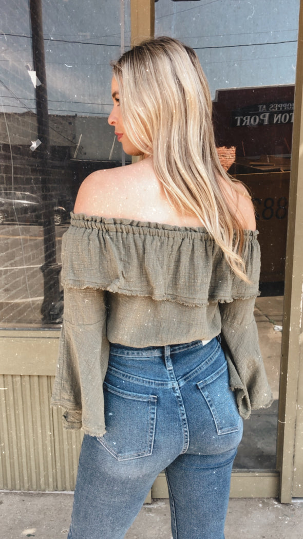Ovie Olive Off the Shoulder Bell Sleeve Crop Top