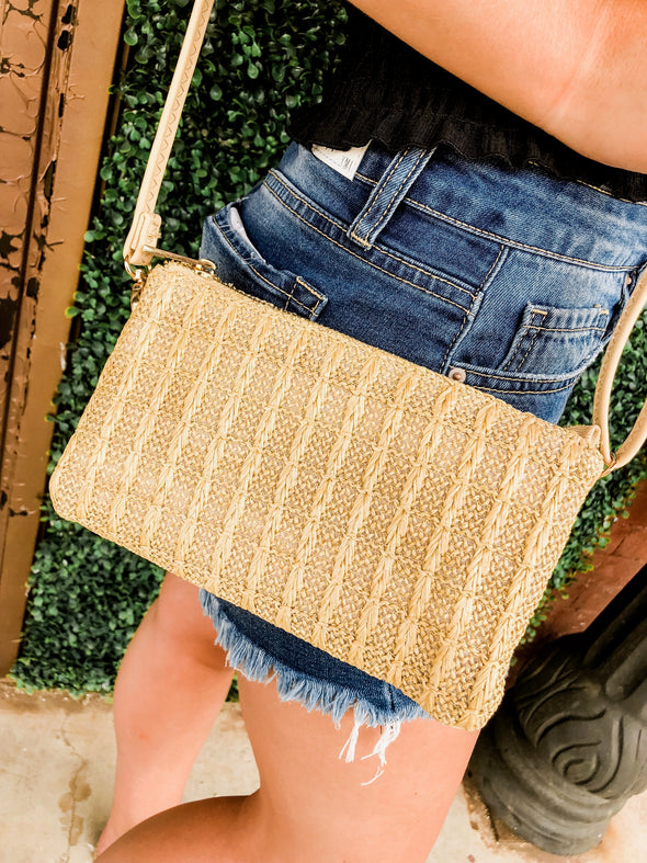 Box Stitch Straw Crossbody Clutch Purse