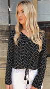Muse Black and White Design Scrunch Top