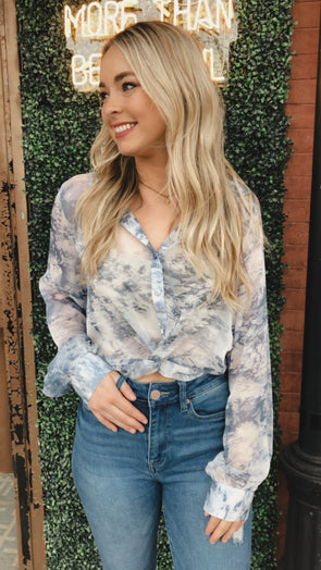 Baby Blues Twist Crop Blouse