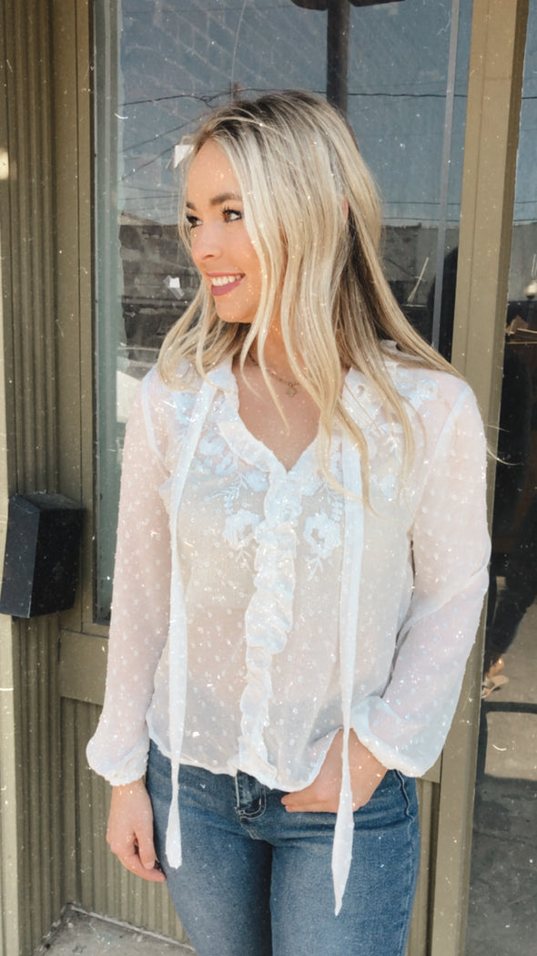 Dove White Sheer Embroidered Blouse