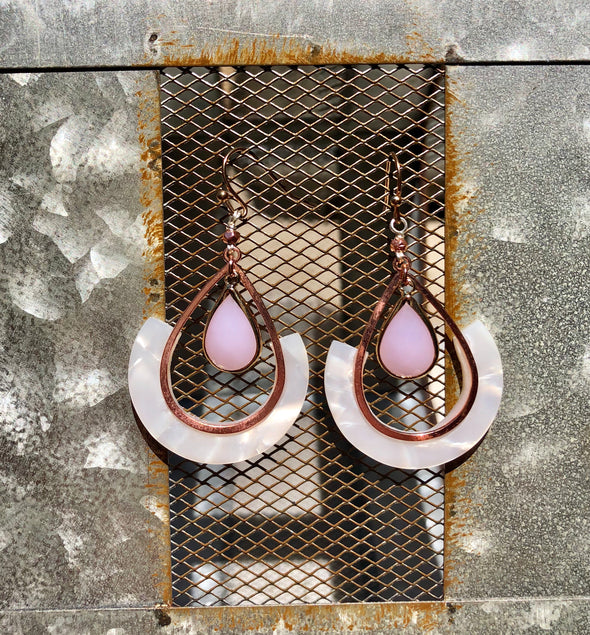 Evelyn Handmade White Lucite Teardrop Earring with Blush Pink Stone