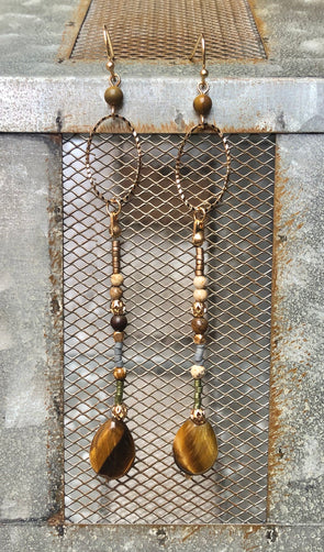 Tiger's Eye Stone Dangle Earring