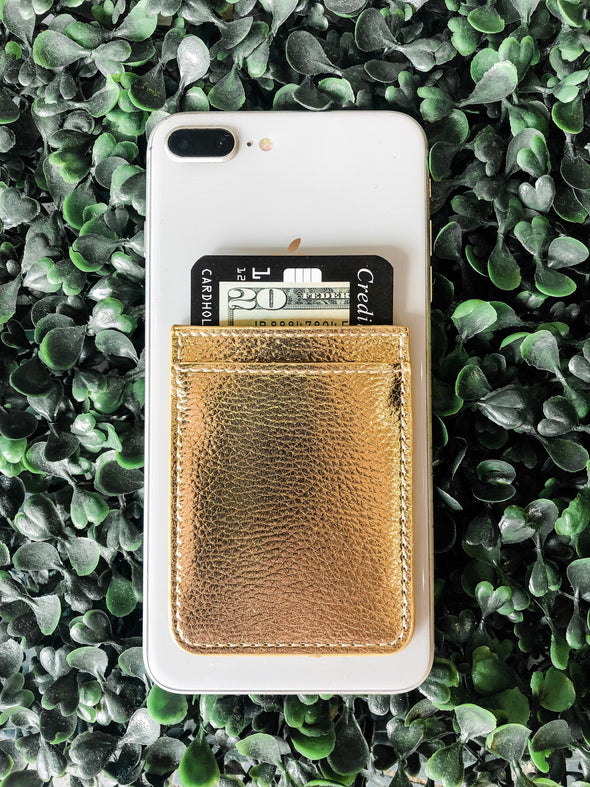 gold phone pocket credit card holder