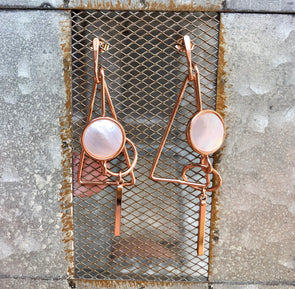 Rose Gold Geometrical Earrings with Pearl