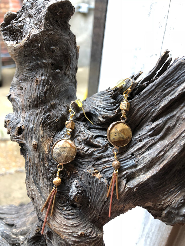 natural stone dangly earrings