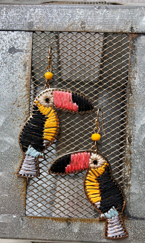 Toucan Rainbow Threaded Earrings