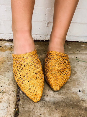 yellow mustard closed toe woven shoe
