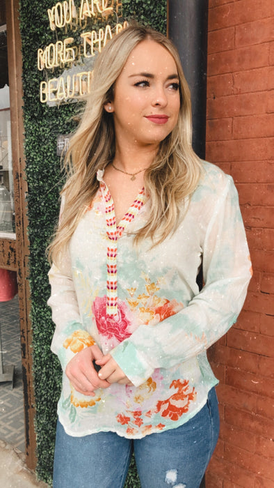 Mystic Aqua Hand Dyed Embroidered Blouse