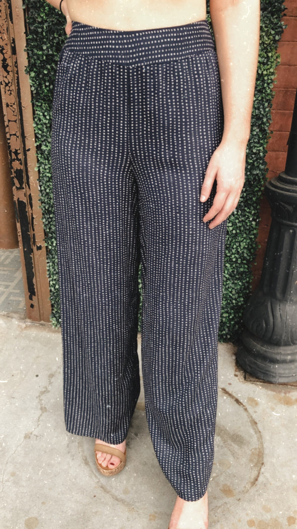 Anna Belle Dotted Navy Pants