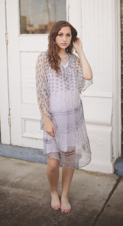 Surrender Silver Beaded Print Dress