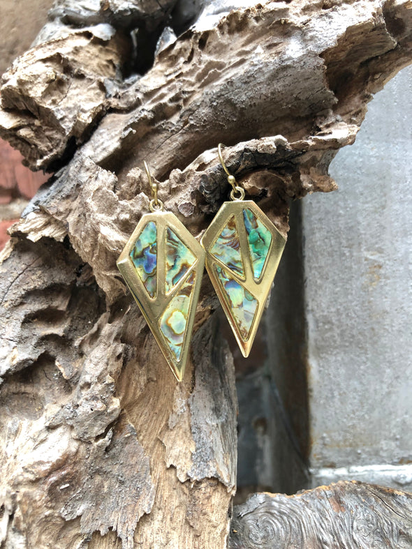 Abalone and Gold Block Earrings