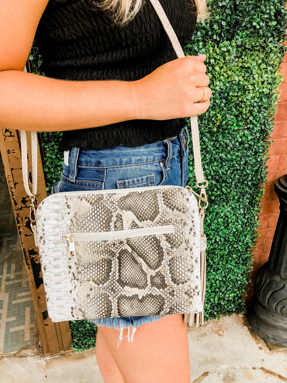 Neutral Snake Print Crossbody Clutch