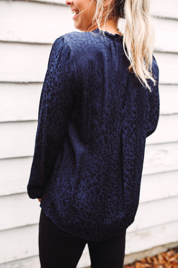 Chassidy Cheetah Navy Tie Button Up Blouse