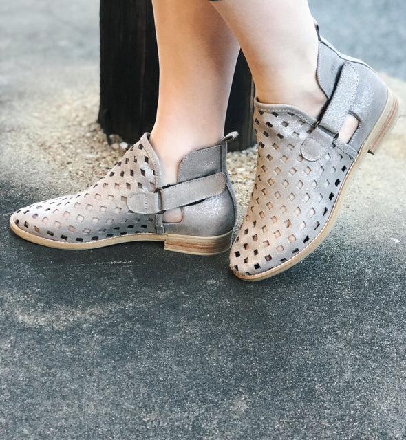 Perforated Silver Metallic Bootie