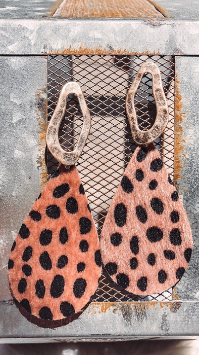 Teardrop Fur Leopard Earrings