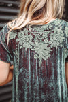 Johnny Was - Sage Iridescent Embroidered Velvet Top