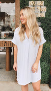 Veronica Baby Blue Collared V-Neck Frayed Hem Linen Dress