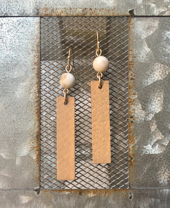 rectangle wood earring with stone