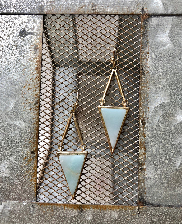 Light Blue Drop Down Triangle Earrings