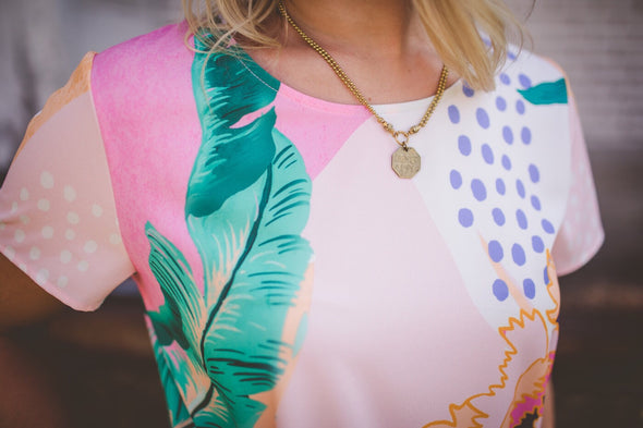 Oasis Pastel Palm Tee Dress