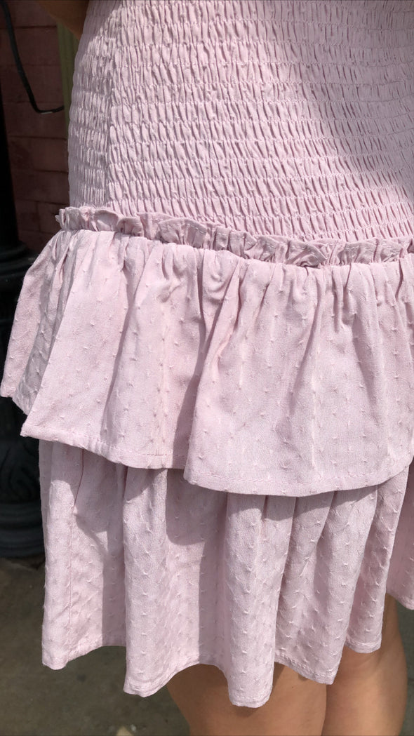 Love Dove Light Lavender/Pink Textured Smocked Dress with Sleeve