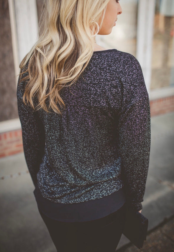 Hanna Black Metallic Long Sleeve Top - Online Exclusive