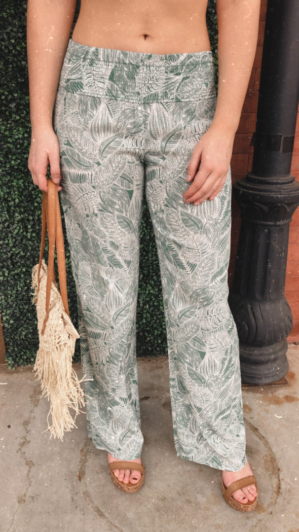 Vegan Leaf Flowy Pants with Smocked Waist