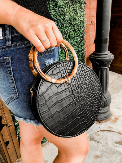 Circle Croc Black Purse with Bamboo Handle