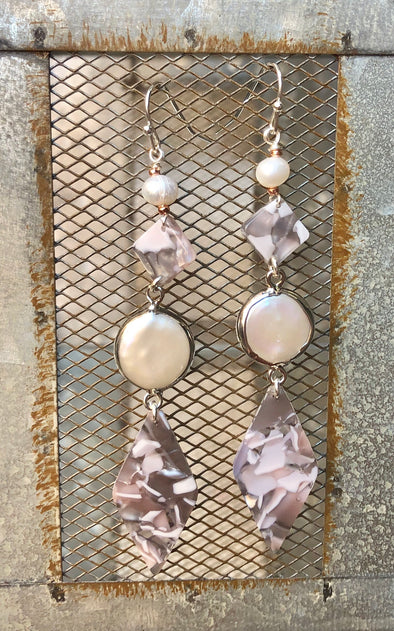 Meadow Handmade Diamond Shape Grey Lucite and Pearl Earring