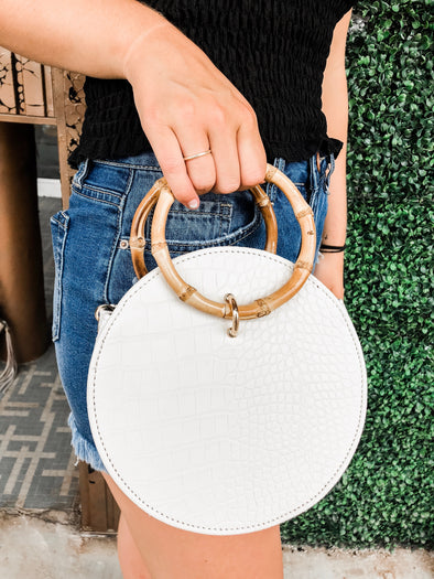 Circle Croc White Purse with Bamboo Handle