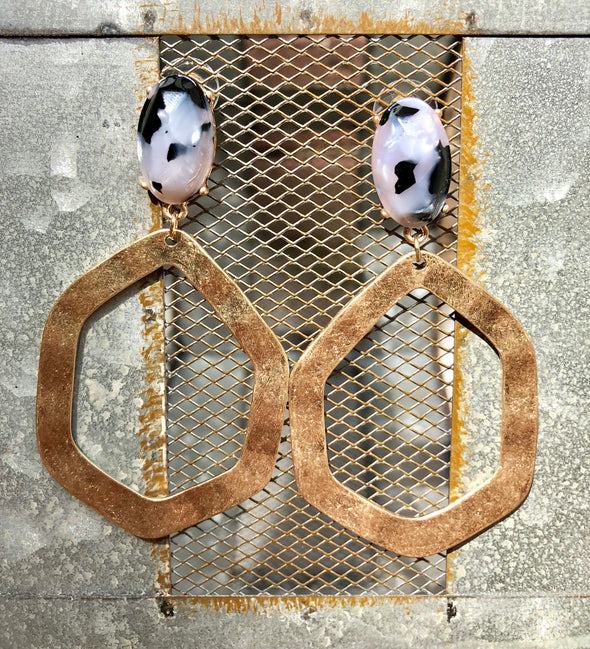 Large Gold Earrings with Grey and Black Speckled Stone