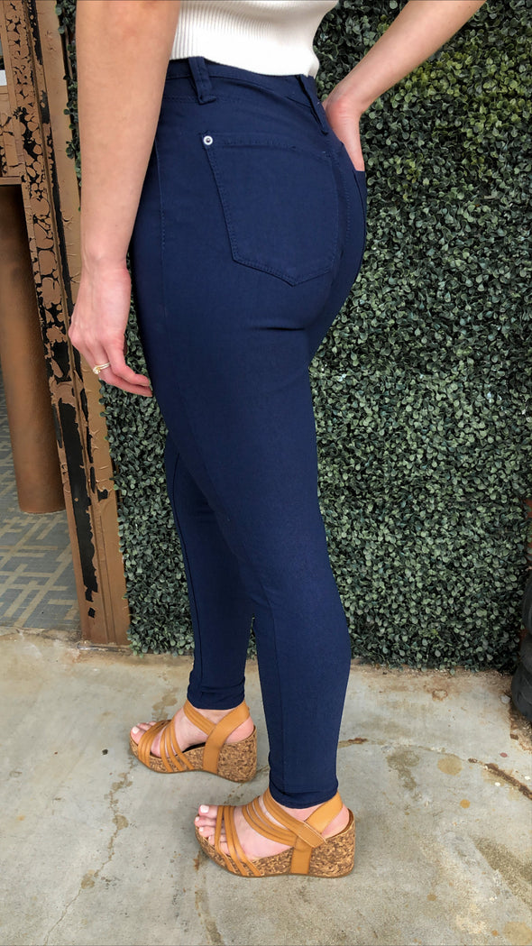 Lake Charles Mid Rise Super Stretch Navy Jeggings