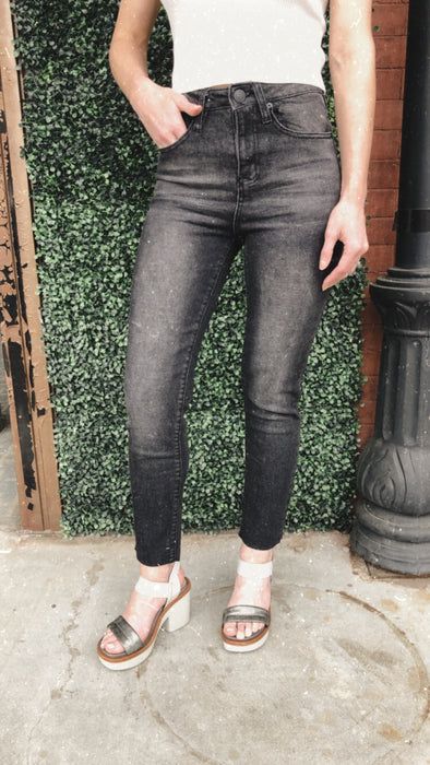 Shreveport Washed Grey Vintage High Rise Straight Ankle Stretch Jeans