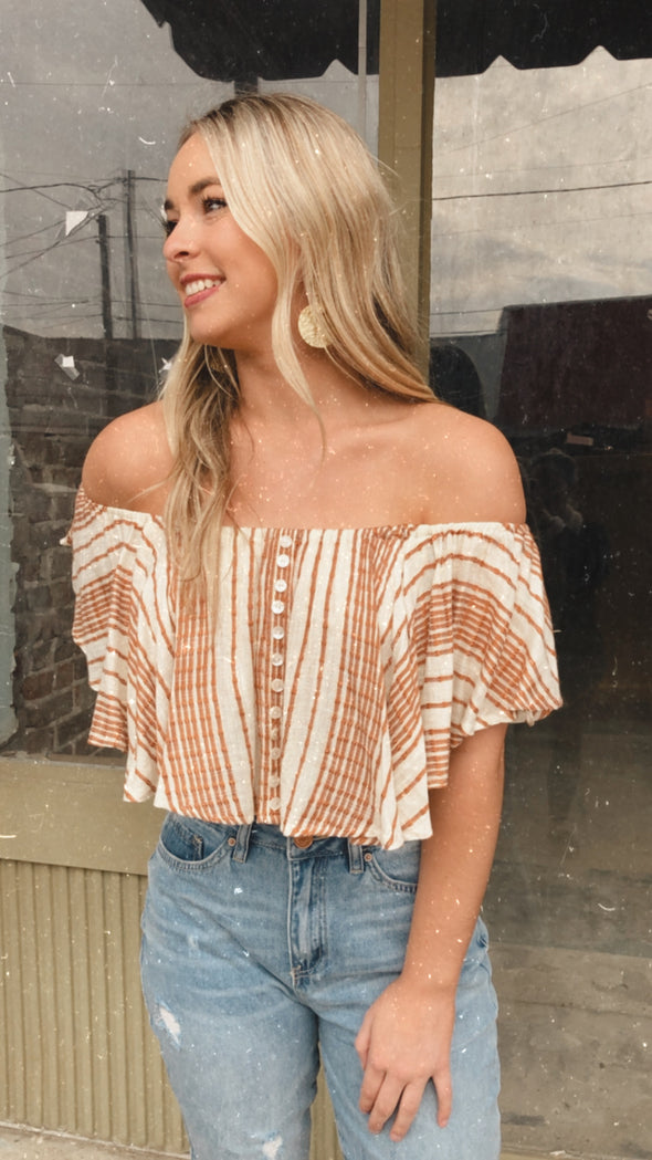 Tanner Striped Button Down Flowy Crop Top