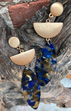 Large Oval Blue and Gold Lucite Earrings