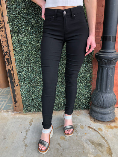 Lake Charles Mid Rise Super Stretch Black Jeggings