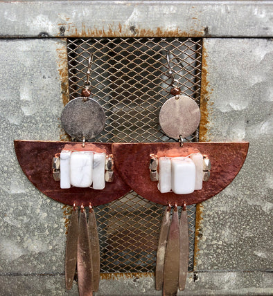 Siler and Copper Earrings with White Stone