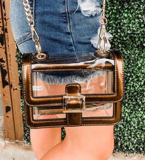 Game Day Bronze Clear Cross-Body Purse