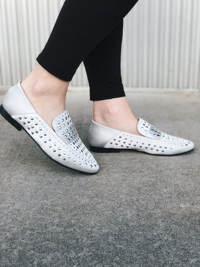 Studded Silver Loafers