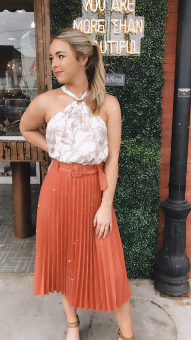 Terracotta Pleated Midi Skirt