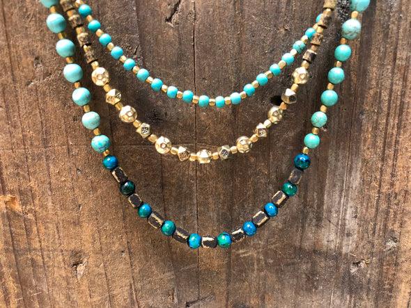 Handmade Layered Ombre Turquoise Beaded Necklace