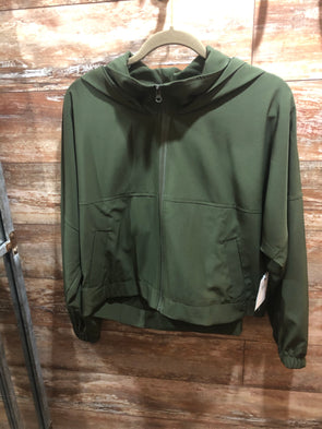 Olive zip up jacket - size m