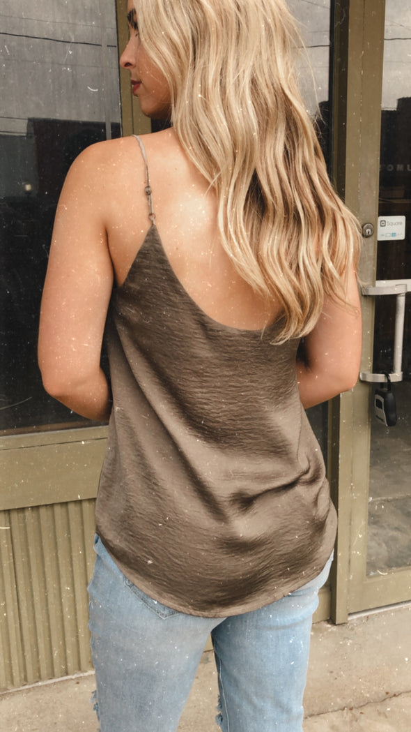 Chantelle Deep Taupe V-Neck Silky Cami with Chiffon Trim