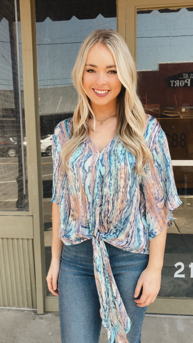 Natural Cotton Candy Print Front Tie Top
