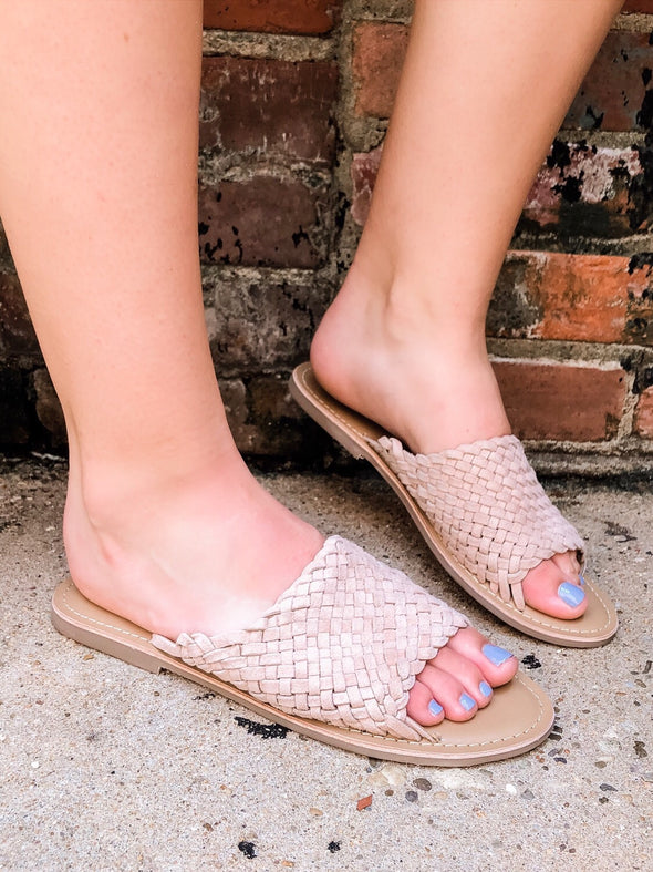 suede leather woven sandal